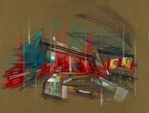 Stazione ferroviaria futuristica della città della metropolitana Fotografia Stock