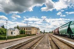 Stazione ferroviaria in Gulbene, Lettonia fotografie stock