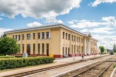 Stazione ferroviaria in Gulbene, Lettonia Fotografie Stock Libere da Diritti