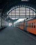 Stazione ferroviaria in inverno Immagini Stock Libere da Diritti