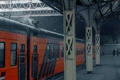 Stazione ferroviaria in inverno Fotografie Stock Libere da Diritti