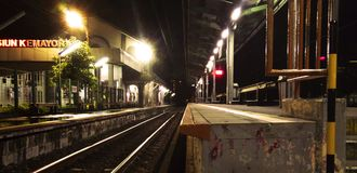 Stazione ferroviaria Kemayoran Jakarta Fotografie Stock