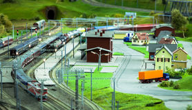 Stazione ferroviaria miniatura Fotografia Stock Libera da Diritti