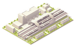 Stazione ferroviaria moderna isometrica royalty illustrazione gratis