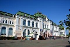 Stazione ferroviaria nella città di Chabarovsk, Russia Immagini Stock Libere da Diritti