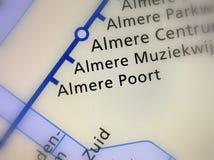 Stazione ferroviaria olandese Almere Poort su una mappa fotografie stock