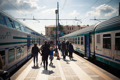Stazione ferroviaria Santa Lucia a Venezia Fotografia Stock Libera da Diritti