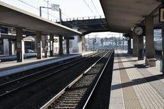 Stazione ferroviaria a Treviso, Veneto, Italia, Europa, tonalità d'annata Fotografia Stock