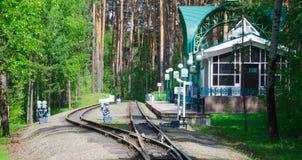 Stazione ferroviaria in una foresta Fotografia Stock Libera da Diritti