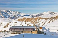 Stazione funicolare in alpi francesi Fotografie Stock Libere da Diritti
