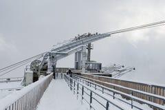 Stazione funicolare coperta di neve, alpi, Francia Immagini Stock