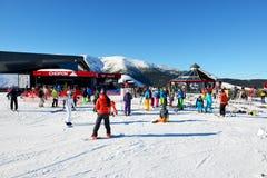 Stazione gli sciatori e della teleferica di Chopok in Jasna Low Tatras Fotografie Stock