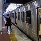 Stazione non identificata di Hakata di viaggio dello studente Fotografie Stock Libere da Diritti