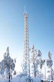 Stazione radio nell'inverno Immagini Stock
