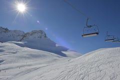 Stazione sciistica - alpi dell'austriaco di Vorarlberg Fotografia Stock Libera da Diritti