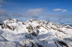 Stazione sciistica alpina a Solden nelle alpi di Otztal, Tirolo, Austria Fotografia Stock Libera da Diritti