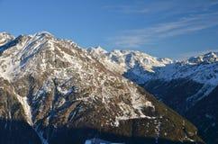 Stazione sciistica alpina a Solden nelle alpi di Otztal, Tirolo, Austria Fotografie Stock
