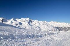 Stazione sciistica alpina a Solden nelle alpi di Otztal, Tirolo, Austria Immagini Stock