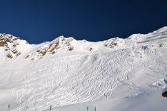 Stazione sciistica alpina a Solden nelle alpi di Otztal, Tirolo, Austria Immagine Stock