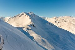 Stazione sciistica cattivo Gastein in montagne nevose di inverno, Austria, terra Salisburgo Fotografie Stock Libere da Diritti