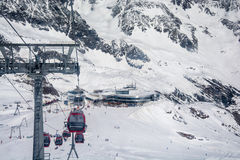 Stazione sciistica del ghiacciaio di Neustift Stubai Fotografie Stock