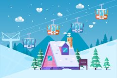 Stazione sciistica della montagna nell'inverno Neve e divertimento Illustrazione di vettore nello stile piano Immagine Stock Libera da Diritti