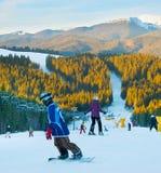 Stazione sciistica delle montagne di inverno Fotografia Stock