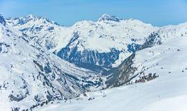 Stazione sciistica di Lech Zurs, Arlberg, Tirolo, Austria Fotografia Stock Libera da Diritti