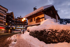 Stazione sciistica di Megeve alle alpi francesi Fotografia Stock Libera da Diritti