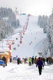 Stazione sciistica e sciatore Immagini Stock Libere da Diritti