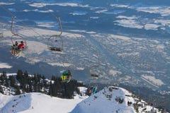 Stazione sciistica, elevatore Innsbruck, Austria Fotografia Stock Libera da Diritti