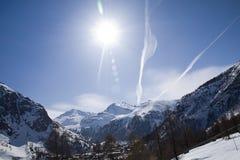 Stazione sciistica Tignes, Val D'Isere Fotografia Stock Libera da Diritti