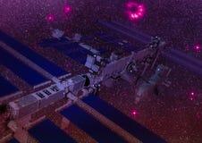 Stazione spaziale di fantascienza nello spazio cosmico Fotografie Stock Libere da Diritti