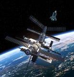 Stazione spaziale e navetta spaziale Immagini Stock Libere da Diritti