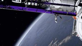 Stazione Spaziale Internazionale ISS che gira sopra l'atmosfera di terre Elementi di questo video ammobiliato dalla NASA illustrazione di stock