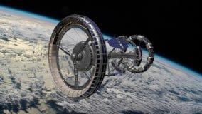 Stazione Spaziale Internazionale ISS di Sci Fi che gira sopra l'atmosfera di terre Stazione spaziale che orbita scena di Earth an stock footage