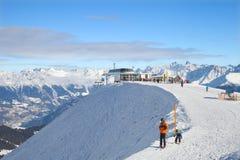 Stazione superiore della cabina di funivia di Lazid in Serfaus, Austria Fotografia Stock