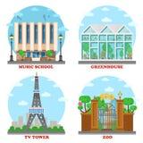 Stazione televisiva e scuola di musica, zoo, serra illustrazione di stock