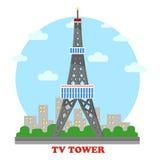 Stazione televisiva ed albero e torre della radio per la televisione Fotografie Stock Libere da Diritti
