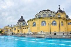 Stazione termale del bagno di szechenyi di Budapest l'ungheria Fotografia Stock Libera da Diritti