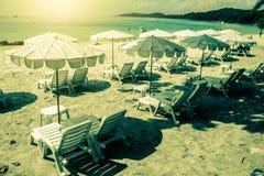 Stazione termale della spiaggia dal mare Immagine Stock