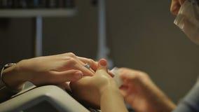 Stazione termale delle mani e del manicure Donna in un salone dell'unghia di bellezza che riceve un manicure da un estetista Cura video d archivio