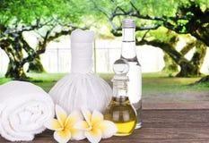Stazione termale, olio d'oliva e sapone fotografia stock libera da diritti