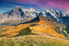 Stazione turistica di Mannlichen della montagna famosa, Bernese Oberland, Svizzera, Europa Fotografie Stock