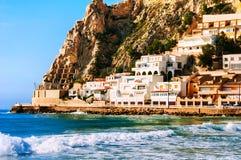 Stazione turistica estiva Benidorm, Spagna con la spiaggia Fotografie Stock