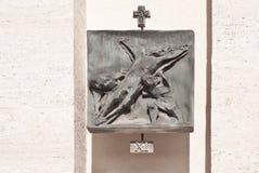 Stazione XI: Crocifissione: Gesù è inchiodato all'incrocio Fotografia Stock Libera da Diritti