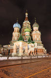 StBasilkathedraal 's nachts in Moskou Royalty-vrije Stock Afbeelding