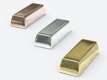 Stäbe der kostbaren Metalle Stockfotografie