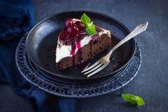 Stück des Käsekuchenschokoladenkuchenkuchens mit Kirschsoße Lizenzfreies Stockfoto