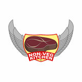 Stück gebratenes Fleischsteak Logo für Café- oder Restaurantumhüllungsfleischteller Küche ohne Gemüse Auch im corel abgehobenen B Stockfotos